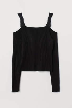 H&M Open-shoulder Sweater - Black