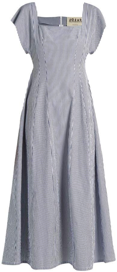 Awake Square-neck striped cotton dress