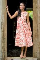 Floral Patterned Knee Length Dress, 'Ginger Blossom'