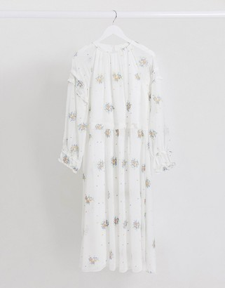 Lost Ink midaxi dress with frill sleeve detail and floral embroidery