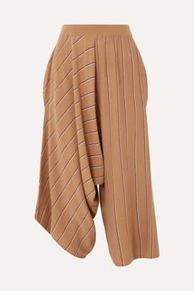 Stella McCartney Draped Striped Wool Culottes - Camel