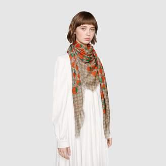Gucci GG shawl with Strawberry print