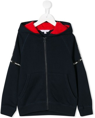 Little Marc Jacobs logo tape zipped hoodie