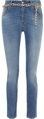 Just Cavalli Chain-embellished Mid-rise Slim-leg Jeans