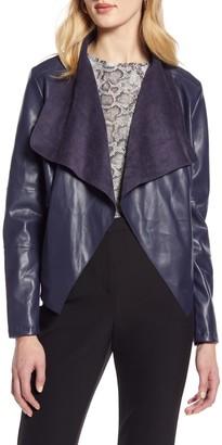 Halogen Faux Leather Drape Front Jacket
