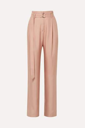 Sally LaPointe Belted Silk-satin Twill Wide-leg Pants - Blush