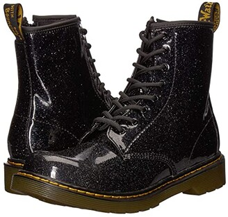 Dr. Martens Kid's Collection 1460 Patent Glitter Youth Delaney Boot (Big Kid) (Black Coated Glitter) Girls Shoes