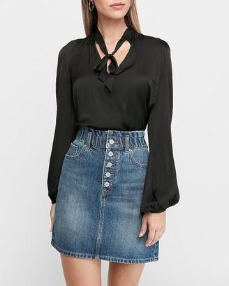 Express Super High Waisted Cinched Button Fly Denim Skirt
