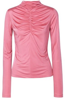 Cédric Charlier Ruched Satin-jersey Top