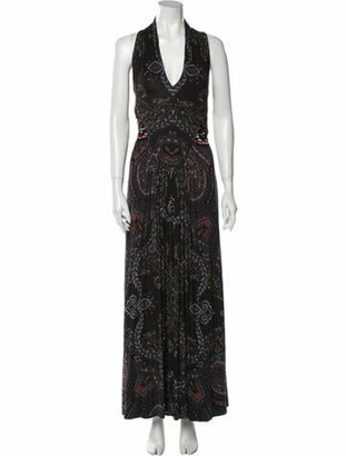 Etro Paisley Print Long Dress Black