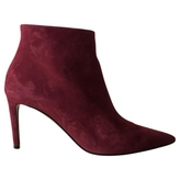 Balenciaga Red Velvet Ankle boots