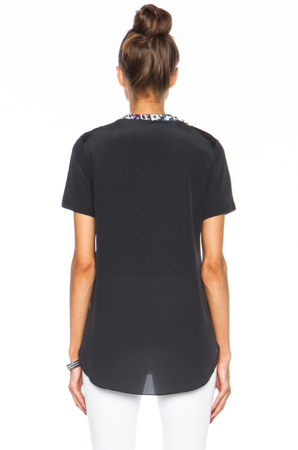 3.1 Phillip Lim Embellished Overlapping Side Seam Tee