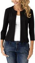 Cocobla Women's Blazer Jacket Solid Color 3/4 Sleeve Slim Short Suit Work Casual