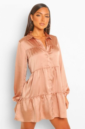 boohoo Tonal Tie Dye Tiered Shirt Dress
