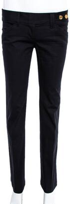 Dolce & Gabbana Black Cotton Herringbone Pants S