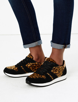 Marks and Spencer Lace Up Leopard Print Trainer