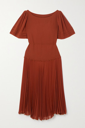 See by Chloe Pleated Chiffon Midi Dress - Burgundy