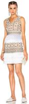 Alberta Ferretti Crochet Embellished Sleeveless Mini Dress in Metallics,Neutrals,White.