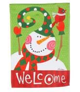 """Evergreen Welcome"""" Snowman Indoor / Outdoor Garden Flag"""