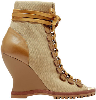 Chloé River Canvas And Leather Wedge Ankle Boots