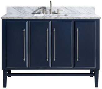 """Avanity Corporation 49"""" Vanity Combo, Navy, Brushed Silver, 1"""" White Marble Countertop, Ba"""