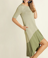Blu Heaven Sage Contrast-Hem Hi-Low Dress