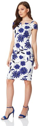 M&Co Roman Originals cold shoulder floral scuba dress