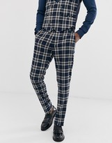 Devils Advocate skinny fit blue check suit trouser