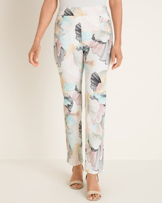 So Slimming Brigitte Petal-Print Ankle Pants