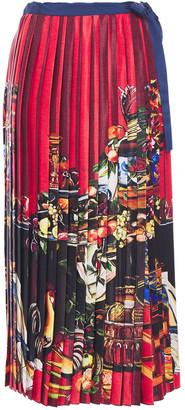 Stella Jean Pleated Printed Satin Midi Wrap Skirt