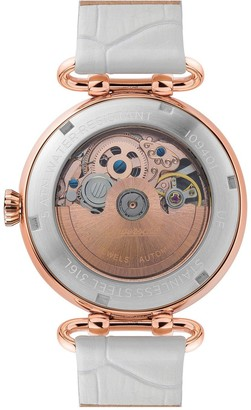 Ingersoll Star Silver and Rose Gold Detail Skeleton Automatic Dial White Leather Strap Ladies Watch