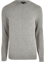 River Island Grey Knit Mesh Panel Jumper