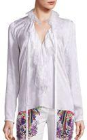 Roberto Cavalli Ruffled Lace Silk Chiffon Tie Neck Blouse