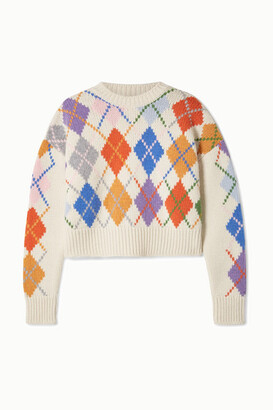 Miu Miu Cropped Argyle Wool Sweater - Ivory