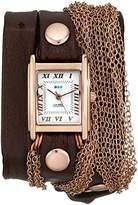 La Mer Women's LMDUO1002 Ros Gold-Tone Watch with Wraparound Brown Leather Band