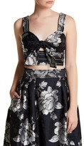 ABS by Allen Schwartz Floral Jacquard Front Tie Cropped Tank