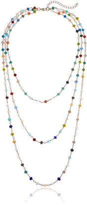 Panacea Three Row Multicolored Crystal Chain Necklace 30