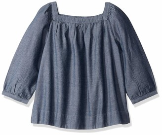 LOOK by crewcuts Big Girls' 3/4 Sleeve Square Neck Top