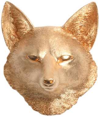 White Faux Taxidermy Faux Resin Fox Head Wall Mount, Gold