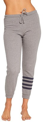 Chaser Cashmere Fleece Slouchy Jogger Pants w/ Stripe Detail (Heather Grey/Avalon) Women's Casual Pants