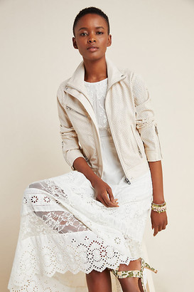 Blank NYC Imelda Perforated Moto Jacket By in White Size XS