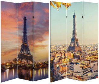 Oriental Furniture Handmade 6' Double Sided Eiffel Tower Sunset Canvas Room Divider