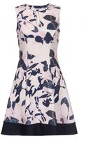 Quiz Pink And Navy Flower Print Keyhole Skater Dress