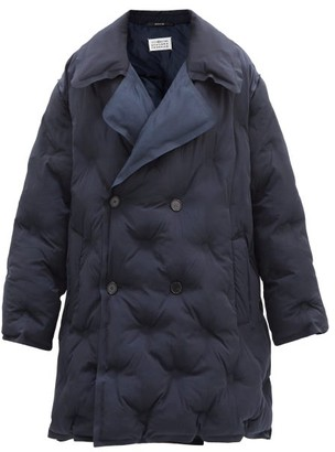 Maison Margiela Double-breasted Quilted Shell Coat - Navy