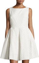 Taylor Eyelet Sleeveless Fit-&-Flare Dress, White/Nude