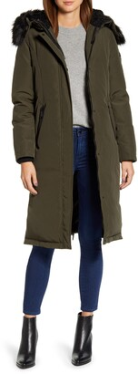 Sam Edelman Water Resistant Long Parka with Faux Fur Trim