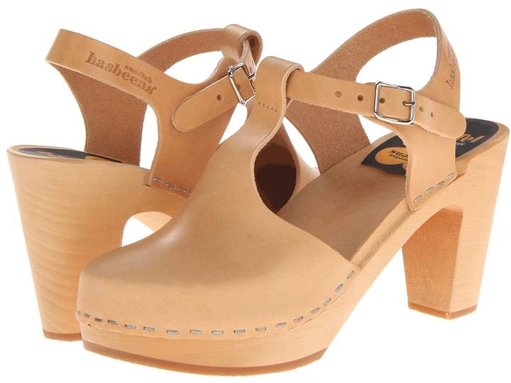 Swedish Hasbeens T-Strap Sky High Women's Clog Shoes