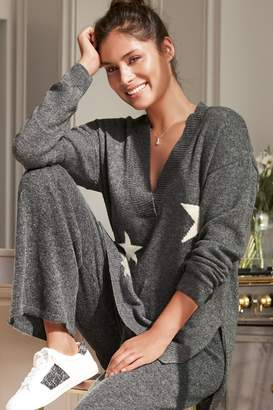Next Womens Charcoal Star Knitted Tunic With Cashmere - Grey