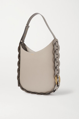 Chloé Darryl Medium Braided Smooth And Textured-leather Shoulder Bag - Gray