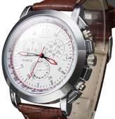 LITB Elegant Women's Dress Watch Roman Numerals Faux Leather Gold Dial Analog Quartz Wrist Watch